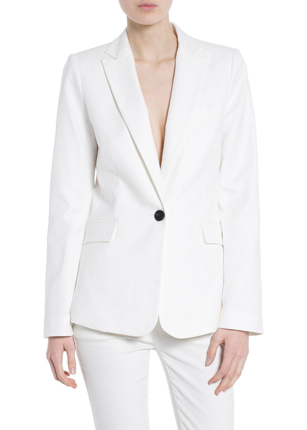 Textured linen-blend blazer -  							  							Women - 							MANGO