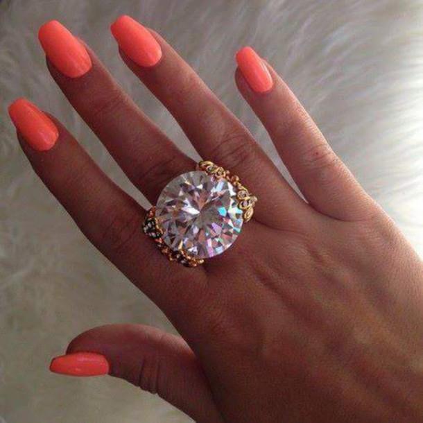 Jewels: nail polish, neon, neon orange, orange, neon nails, neon ...