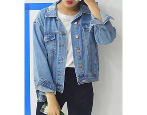 Wholesale Preppy Style Shirt Collar Bleach Wash Long Sleeve Denim ...