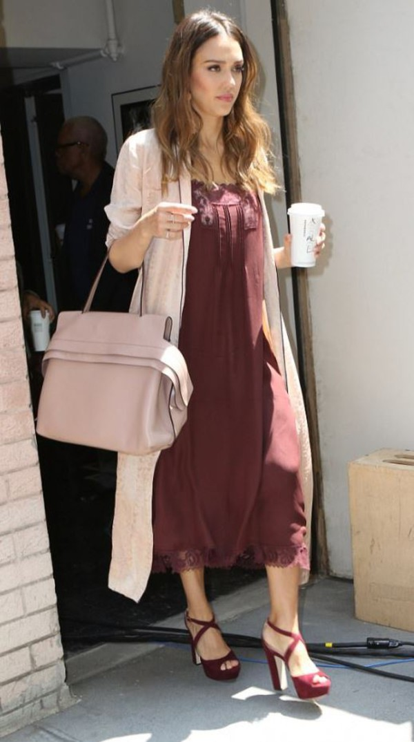 dress burgundy burgundy dress coat sandals jessica alba spring outfits