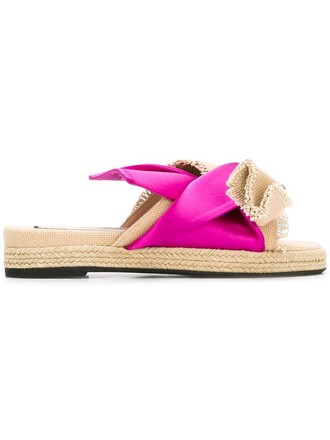 bow women sandals cotton silk purple pink shoes