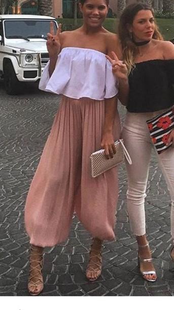 482f33c2280 pants zara harem pants wide-leg pants culottes pink pants