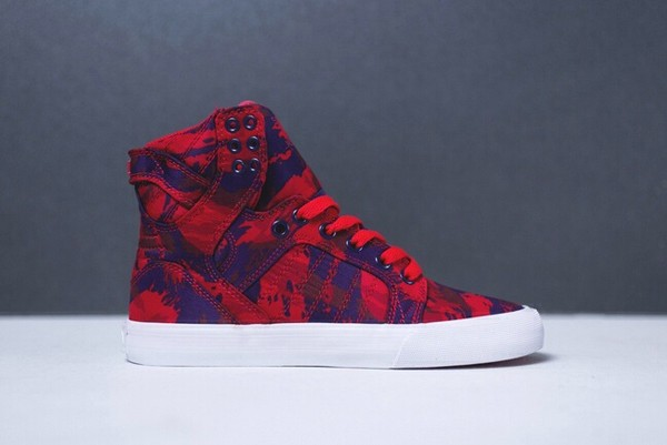 shoes supra purple and red skytop sneakers