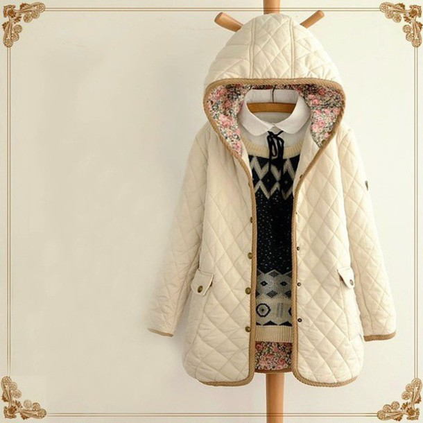 coat cute cream