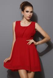 dress,chiffon,red,party dress,open back,blogger,sleeveless,chic