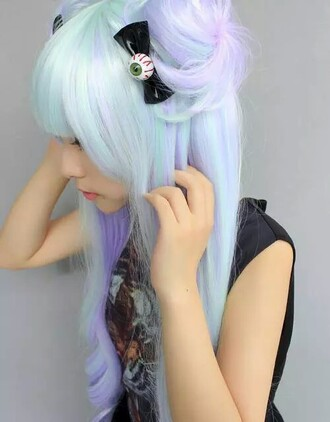 hair accessory hair blue eye ribbon pastel pastel goth pastel hipster hipster goth gothic goth hipster grunge lolita fashion