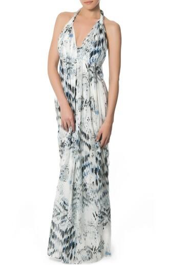 dress long dress maxi dress v neck adjustable straps pattern empire waist