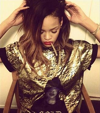 shirt t-shirt rihanna blouse black and gold blouse top gold