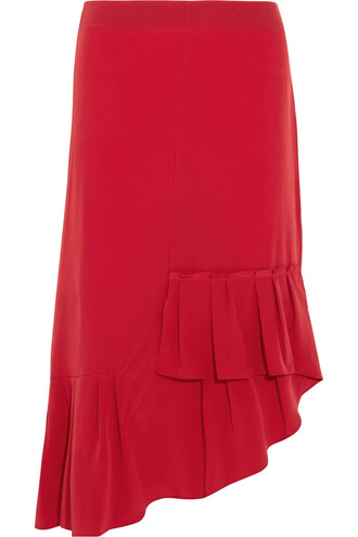 skirt midi skirt pleated midi silk red