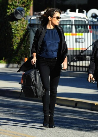 bag backpack fall outfits leather nikki reed ankle boots boots shoes