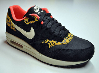 shoes nike black leopard print red white air max