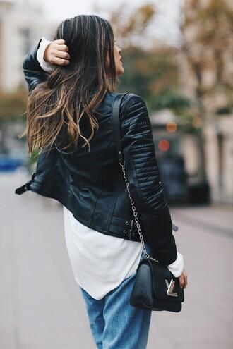 jacket tumblr leather jacket black leather jacket black dress bag black bag louis vuitton louis vuitton bag chain bag shirt white shirt denim jeans blue jeans