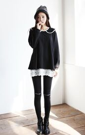 sweater,black,korean fashion,white,collar,oversized,cute,sweet,nice,cool,kpop,kstyle,japanese,long,warm,fluffy,korean style,peter pan collar,streetwear,lace dress