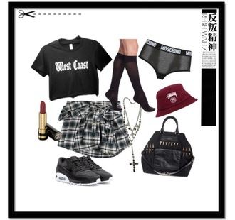 shirt west coast black crop tops crop cropped tie around waist plaid plaid skirt plaid shirt knee high socks stussy bucket hat stussy bucket hat red air max nike nike running shoes nike shoes