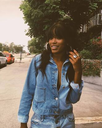 jacket denim jacket hoop earrings keke palmer