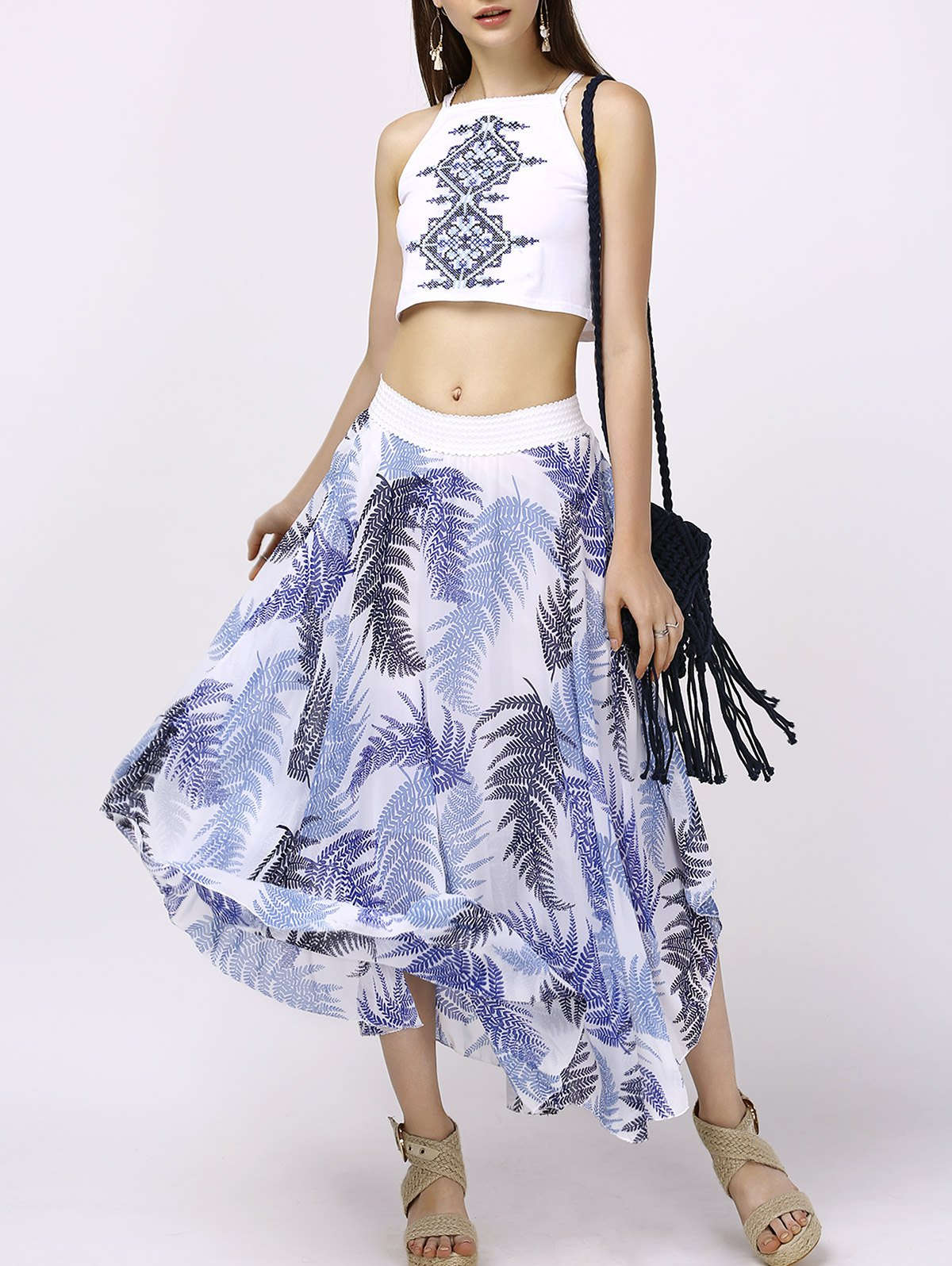 Ethnic Embroidered Tank Top and Leaf Print Skirt Set For Women