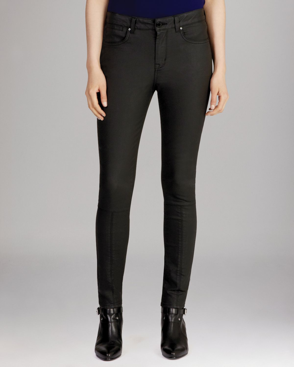 KAREN MILLEN Coated Black Jeans | Bloomingdale's