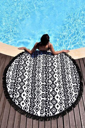 scarf round beach towel beach towel black and white summer