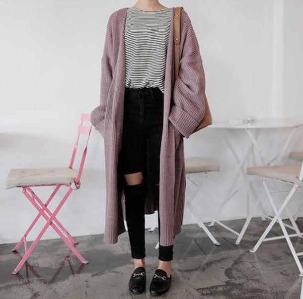 cardigan cute comfy korean fashion korean fashion long sweater mauve rose oversized cardigan oversized vest lilac