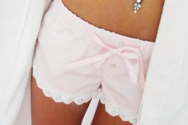 shorts sleepwear sleeping cute pink white flowers pants underwear