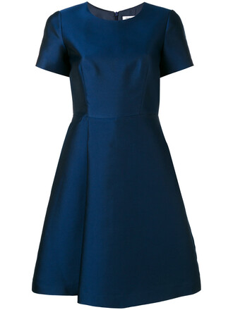 dress women blue silk