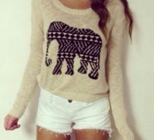 sweater knitted sweater knitwear elephant atztec cotton cozy hipster comfy