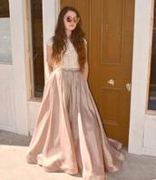 dress,gold pink dress,dress with pockets,long dress,long prom dress,short sleeve dress,lace top dress