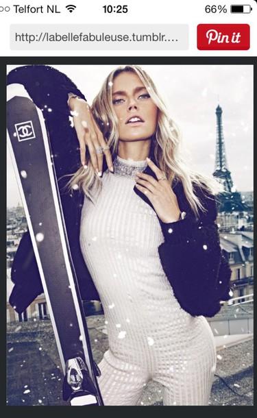 coat white skiing glitters