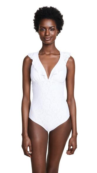 romantic ruffle white swimwear