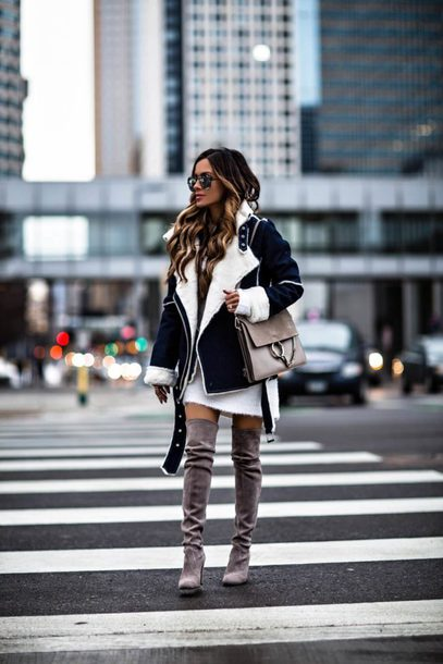 maria vizuete mia mia mine blogger jacket biker jacket winter outfits shearling jacket winter jacket chloe bag boots over the knee boots