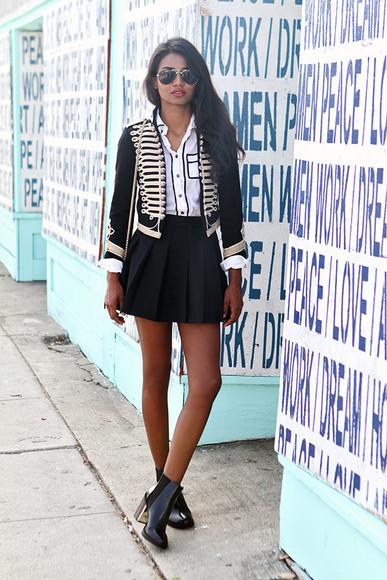 tuolomee blogger jacket bag blouse shirt pleated skirt mini skirt ankle boots aviator sunglasses