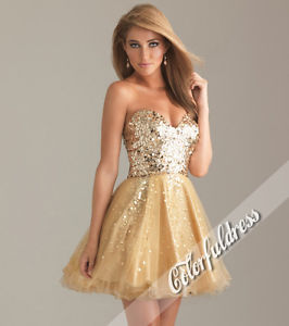 Gold Sequined Organza Cocktail Party Dress V Neck Short Prom Ball Gown SZ 10 | eBay