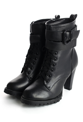 shoes zip lace up boots black heel boots