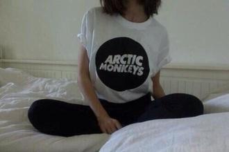 t-shirt arctic monkeys white white t-shirt