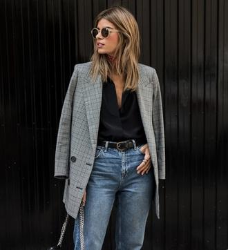 ms treinta blogger jacket jeans shirt scarf shoes belt bag blazer fall outfits
