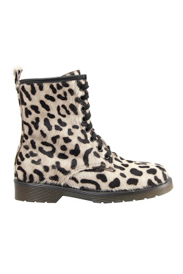 LACED BOOT IN WHITE CHEETAH PONY HAIR