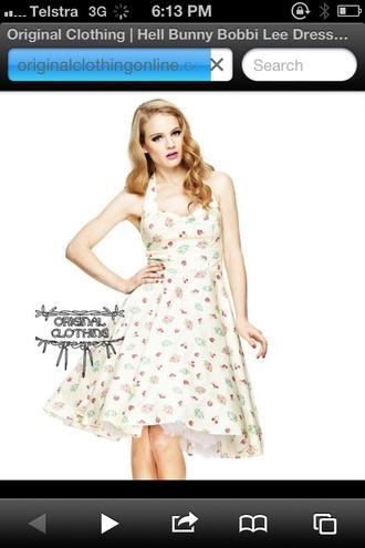 dress hellbunny rockabilly 50s bobbi lee cream cherries strawberries