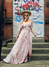 thelittlemagpie,blogger,dress,hat,jewels,sunglasses,pink dress,pink,off the shoulder,maxi dress,straw hat,cut out shoulder,ruffle dress,ruffle,floral maxi dress,floral dress,summer dress,summer outfits,sneakers,black sneakers,romantic dress