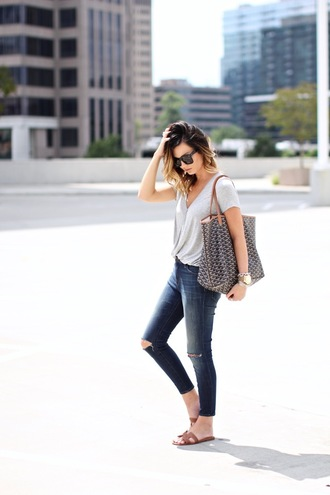for all things lovely blogger jeans shoes bag sunglasses jewels grey top skinny jeans ripped jeans cropped jeans flats streetstyle grey t-shirt hermes