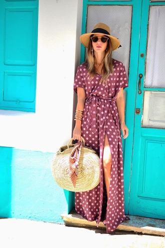 dress hat tumblr pink dress slit dress long dress maxi dress wrap dress polka dots bag round tote tote bag sun hat