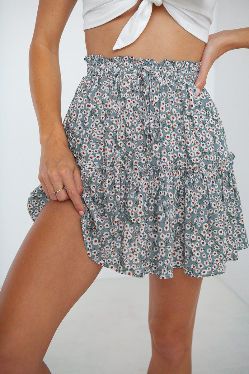 Maisie Skirt (Green Floral)