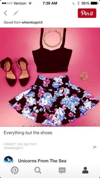 top crop tops skater skirt floral skirt skirt shoes floral skater skirt