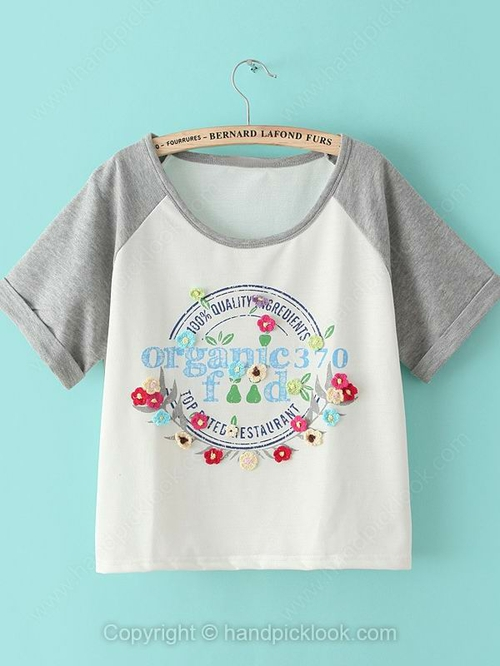 Grey short sleeve english letters print flowers t