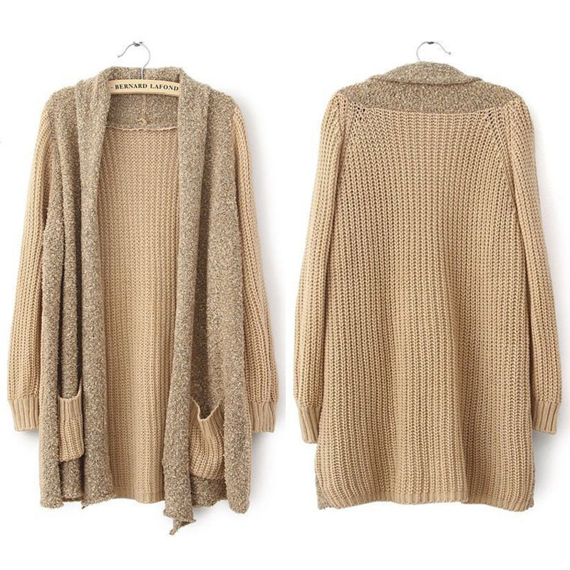 Hot Women Casual Loose Splice Knitted Long Sleeve Cardigan Sweaters Coat