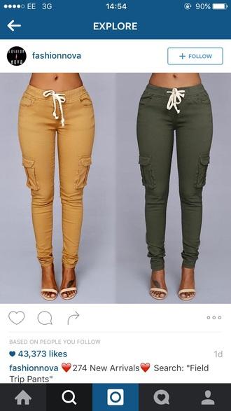 pants khaki khaki pants joggers skinny pants green