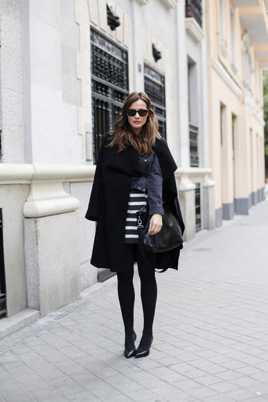 striped skirt bag blogger lady addict coat denim shirt sunglasses