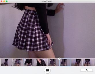 skirt plaid skirt plaid crop top hoodie black crop top black