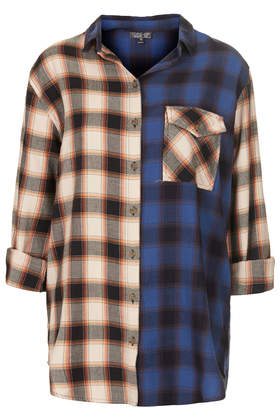 Oversize Contrast Check Shirt - Shirts - Tops  - Clothing - Topshop