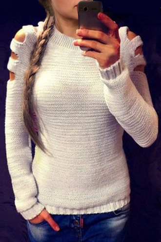 sweater fashion knitwear long sleeves cut out round neck long sleeves jumper cool cut-out trendy casual fall outfits