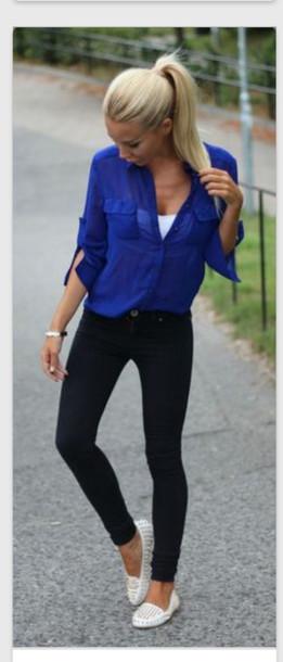 dark royal blue blouse sheer buttons royal blue sheer blouse